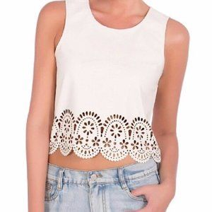 MINKPINK Cream Stepping Up Pleather Tank Top